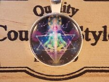 Glass Cabochon PENTACLE CHAKRA ZEN HEALING REIKI Pendant Necklace UK Seller