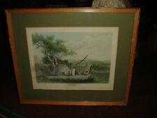 Antique Color Engraving-Winnebago Wigwams-S Eastman US Army-Robert Hinshelwood
