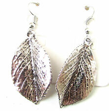 Silver Leaf Earrings Drop Boho Ibiza Festival Vintage Hook Grecian Leaves 8AT