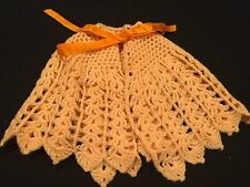 VINTAGE 1970'S ERA HAND CROCHET ORANGE SHERBET BABY CAPE