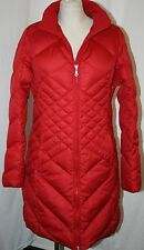 EDDIE BAUER ESSENTIAL goose DOWN PARKA trench COAT jacket RED LARGE L