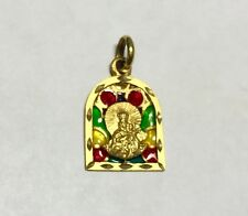 "18 Karat Yellow Gold Our Lady of Mount Carmel ""Virgen del Carmen"" Enameled Medal"