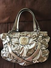 Juicy Couture Silver Gray Satin Leather Trim Ruched Handbag Tote Chain Strap