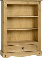 Corona Mexican 1 Drawer Bookcase Distressed Waxed Pine