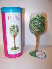 Lolita Love Mom Stand Tall Wine Glass Green Tree Pink Floral Rhinestones Text
