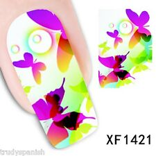 Nail Art Water Decals Stickers Wraps Neon Butterflies Butterfly Gel Polish 1421