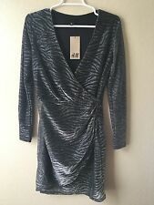 H&M Womens Size 8 Medium Silver Gray Lurex Animal Print Wrap Party Dress New NWT