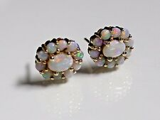 Antique 14k Yellow Gold 1.5 ctw Natural Opal Earrings ~ 5.2 grams