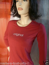 CALVIN KLEIN JEANS TEE SHIRT MANCHES LONGUES ROUGE BORDEAUX TAILLE M 38/40 NEUF