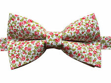 Bow Tie | Handmade Vintage Pink Floral Bow Tie on White | Pre-tied