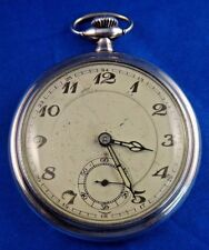 Antique Pocket Watch Half Moon Imperial Crown Germany 900 Silver Case Working