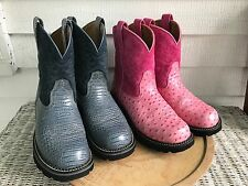 LOT OF TWO PAIR OSTRICH REPTILE ARIAT FATBABY WOMENS BOOTS SIZE 10