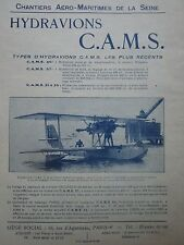 5/1928 PUB CAMS SEINE SARTROUVILLE HYDRAVION CAMS-54 RECORD BERRE BEYROUTH AD