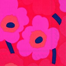 UNIKKO pink Marimekko sixties big  floral paper lunch napkins new 20 in pack