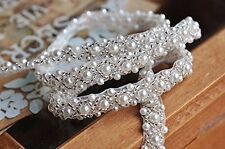 2 Yard Silver Beaded Pearl trim Bridal Crystal Trim Wedding Applique Belt