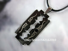 Men's Stainless Steel Punk Gothic Razor Blade Pendant Leather Chain Necklace