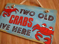 TWO OLD CRABS LIVE HERE Nautical Blue & Red Beach Seafood Sign Home Decor NEW