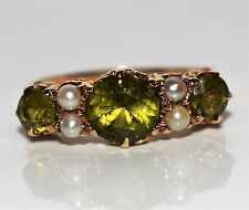 Stunning Victorian style Peridot and Pearl 9ct GOLD ring size O ~ US 7 1/4