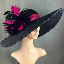 Fuchsia Pink Feather Kentucky Derby BLACK Hat Wide Brim Dress Wedding Tea Party