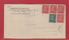 1934 Medallion Registered Canada cover 5 stamp franking to US