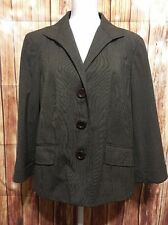 Lafayette 148 Brown Stretch Wool Classic Suit Jacket 3 Button Blazer Sz 14