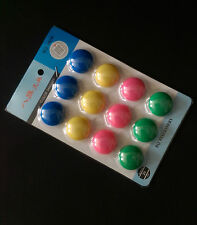 MAGNET PINS, ROUND MAGNETS PK 12 4 COLOURS PERFECR FOR WHITEBOARDS FRIDGES ETC