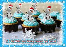 12 DISNEY congelato Olaf pupazzo di neve Natale Stand Up Cupcake Fairy CHIGNON DECORAZIONI PER TORTA