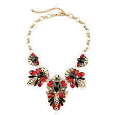 Luxe Fair Isle Statement Necklace Stunning Multi-Colored Crystal Cluster Ruby