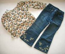 Gymboree royal gardens equestrian club flower top shirt jeans denim pants 5 5T