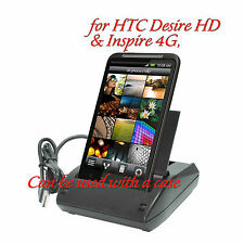 USB Dual Desk Docking Cradle w/2nd Battary Charger for HTC Desire HD Inspire 4G