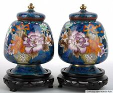 China 20. Jh. Vasen A Pair of Chinese Cloisonné Vases Yu Form Vaso Cinese Cinois
