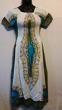 African Women Dashiki Print SunDress Kaftan Hippie Maxi Gown Plus size White tur