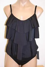 NWT Kenneth Cole Swimsuit Tankini 2pc Set Sz XL Black Banded ruffles