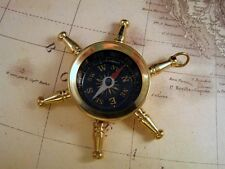 Large Brass Ship Wheel Compass (1) - L591 Jewelry Finding
