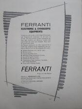11/61 PUB FERRANTI ELECTRONIC GYROSCOPIC EQUIPMENT GYROS ORIGINAL AD