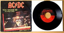 "AC/DC YOU SHOOK ME ALL NIGHT LONG  7"" VINYL 45 RARE FRENCH JUKEBOX  P/S 11321"