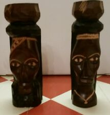 Hand carved Jamaican Wood totems Tiki Island art Jamaica Face Head totem Pole!!!