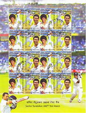 Indien India 2013 Maxi-Block Cricket-Spiel Sachin Tendulkar, Sheetlet gestempelt