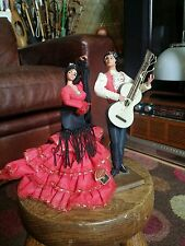 "Vtg Retro Kitsch Marin Spanish 8"" Flamenco Guitar Dancing Couple.Tretchikoff era"