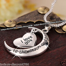 I Love You Heart & Moon Necklace Silver Valentines Gifts For Her Wife Girl Women