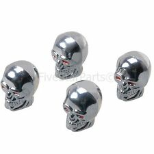 UNIVERSAL VALVE CAPS DUST CAR BIKE TIRE SILVER SKULL SET OR 4 BACK FOR ALL CARS