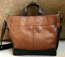 COACH MEN'S LEATHER LARGE TOTE BAG Two Tone Brown/Black