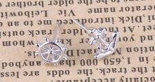 925 Sterling Silver Plated Small Hollow Cut Out Helm & Anchor Stud Earrings Gift