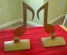 Pair of Vintage Solid Brass Music Note Bookends 391443