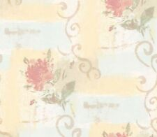 Wallpaper  Floral & Scrolls On Pale Blue and Cream Faux