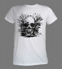Horror Movie Skull Scary Trees and Crows cool T-shirt