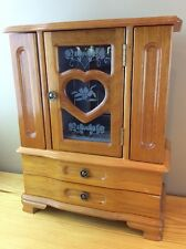 Jewelry Box Wood Wooden Glass Mirror Drawers Doors Ring Holders Necklace Hangers