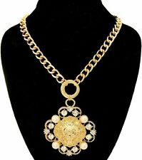 Gold Bling RHINESTONE LION HEAD Statement Necklace Vintage Chain Faux Pearl