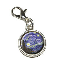 Starry Night by Vincent Van Gogh - Antiqued Bracelet Charm with Lobster Clasp