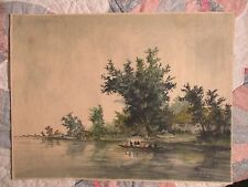 Vintage unframed Watercolor Landscape with People in Boats